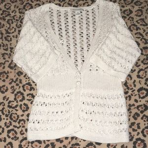 Cute White Sweater with gold thread